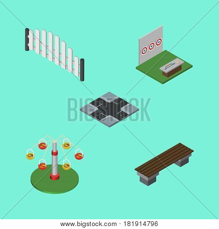 Isometric Urban Set Of Swing Attraction, Barricade, Intersection And Other Vector Objects. Also Includes Intersection, Rotation, Wooden Elements.