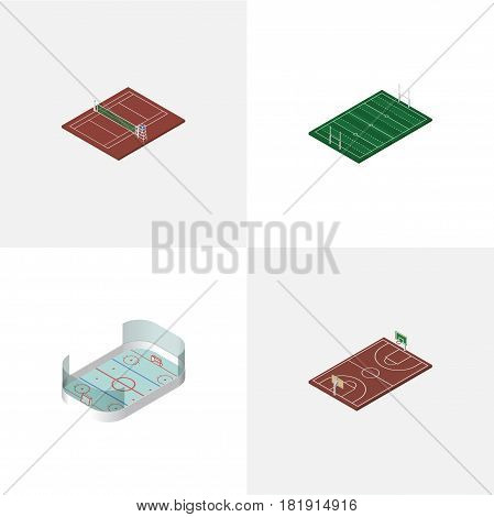 Isometric Competition Set Of Ice Games, Volleyball, B-Ball And Other Vector Objects. Also Includes Football, Tennis, American Elements.