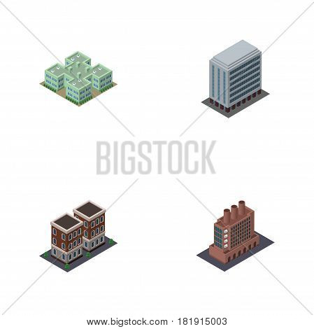 Isometric Architecture Set Of Office, Clinic, House And Other Vector Objects. Also Includes Hospital, Clinic, Home Elements.