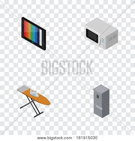 Isometric Technology Set Of Microwave, Cloth Iron, Kitchen Fridge And Other Vector Objects. Also Includes Tv, Ironing, Device Elements.