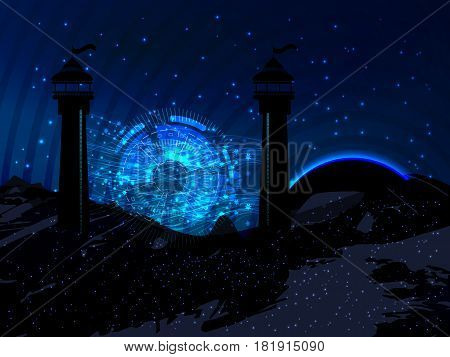 Space. Vector Illustration For Your Design. Beautiful, Fantastic And Magical.
