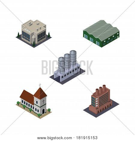Isometric Architecture Set Of Water Storage, Warehouse, Company And Other Vector Objects. Also Includes Chapel, Church, Tank Elements.