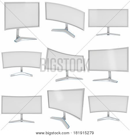 White Curved LCD tv screen set. 3d render isolated on white.
