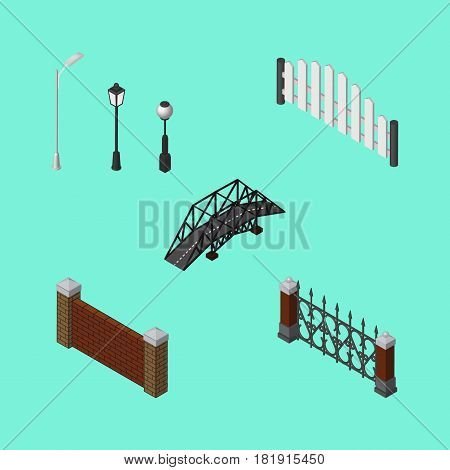 Isometric City Set Of Expressway, Fence, Barricade And Other Vector Objects. Also Includes Hedge, Lights, Metal Elements.