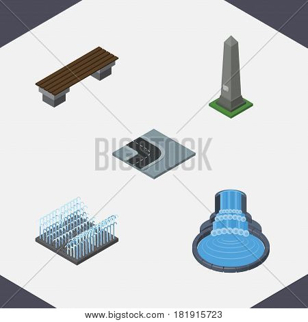 Isometric Street Set Of Bench, Dc Memorial, Turning Road And Other Vector Objects. Also Includes Park, Bench, Turn Elements.