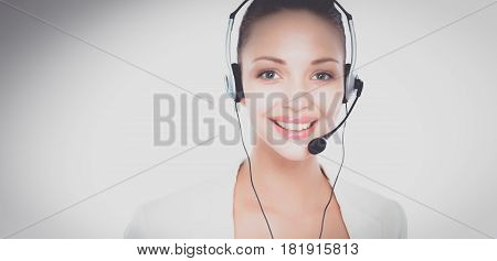 Call center operator business woman isolated on white background.