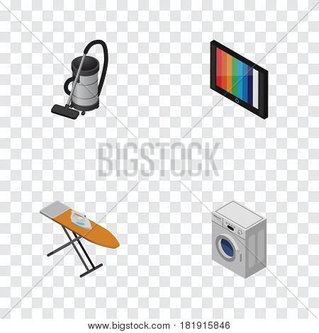 Isometric Technology Set Of Vac, Cloth Iron, Television And Other Vector Objects. Also Includes Washing, Vac, Cleaner Elements.