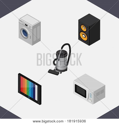 Isometric Appliance Set Of Vac, Music Box, Television And Other Vector Objects. Also Includes Kitchen, Tv, Vac Elements.