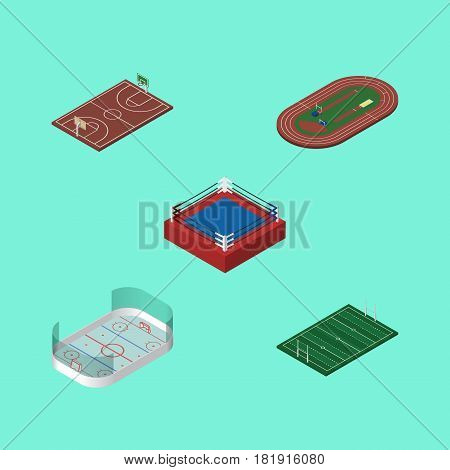 Isometric Sport Set Of B-Ball, Ice Games, American Football And Other Vector Objects. Also Includes American, Ice, Playground Elements.