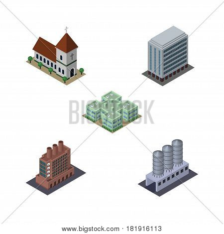 Isometric Building Set Of Industry, Office, Chapel And Other Vector Objects. Also Includes Chapel, Hospital, Church Elements.
