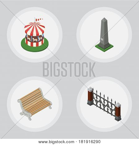 Isometric City Set Of Carousel, Seat, Fence And Other Vector Objects. Also Includes Metal, Monument, Hedge Elements.