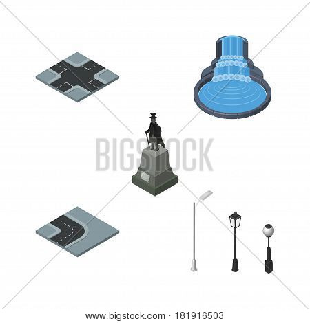 Isometric Street Set Of Garden Decor, Sculpture, Street Lanterns And Other Vector Objects. Also Includes Intersection, Park, Road Elements.