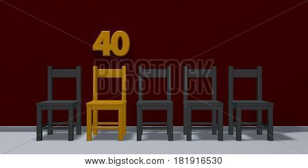 number forty and row of chairs - 3d rendering