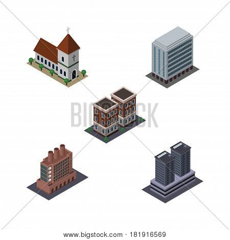 Isometric Construction Set Of Office, Industry, Chapel And Other Vector Objects. Also Includes Industry, Office, Home Elements.