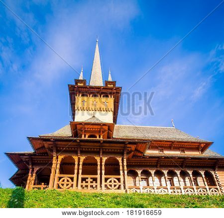 The exterior of the wooden Church in Romania