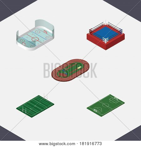 Isometric Training Set Of Ice Games, Fighting, Soccer And Other Vector Objects. Also Includes Boxing, Stadium, Football Elements.