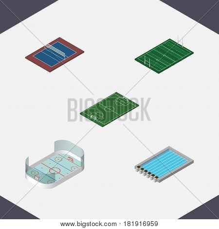 Isometric Lifestyle Set Of Ice Games, American Football, Soccer And Other Vector Objects. Also Includes Stadium, Volleyball, Basin Elements.