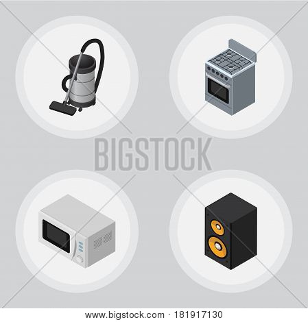 Isometric Electronics Set Of Vac, Microwave, Music Box And Other Vector Objects. Also Includes Vac, Cleaner, Music Elements.