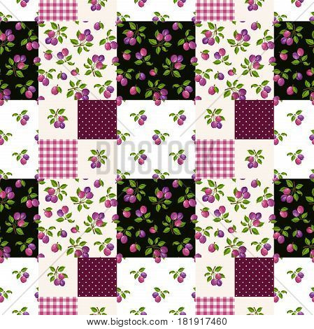 Vector seamless patchwork pattern with plums, gingham and polka dot motifs.