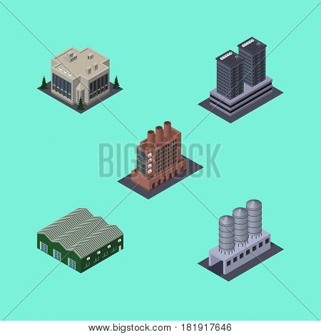 Isometric Architecture Set Of Industry, Company, Water Storage And Other Vector Objects. Also Includes Storage, Company, Firm Elements.