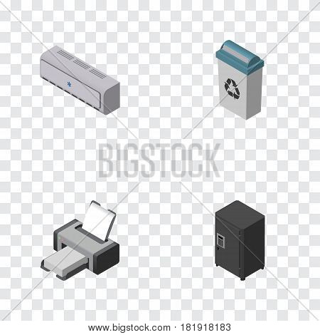 Isometric Work Set Of Strongbox, Printing Machine, Wall Cooler And Other Vector Objects. Also Includes Bin, Strongbox, Locked Elements.