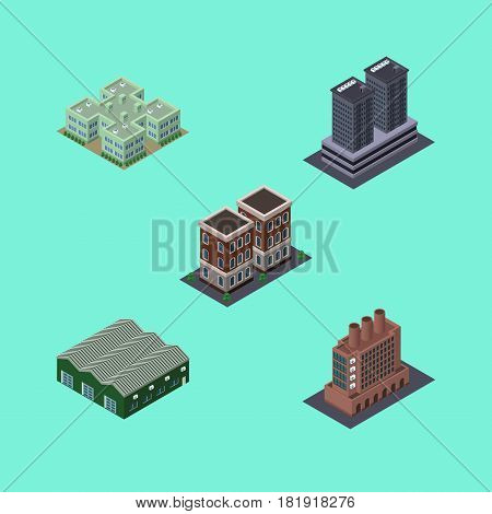 Isometric Urban Set Of Warehouse, Tower, Clinic And Other Vector Objects. Also Includes Clinic, Skyscraper, Warehouse Elements.