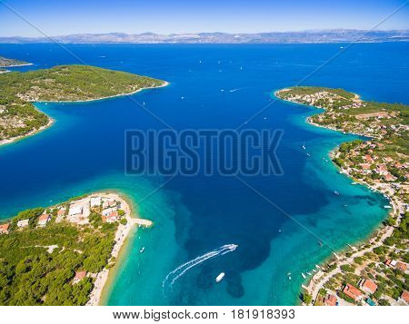 Aerial view of Solta island bays, Croatia.