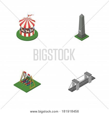Isometric Street Set Of Highway, Seesaw, Dc Memorial And Other Vector Objects. Also Includes Bridge, Attraction, Swing Elements.
