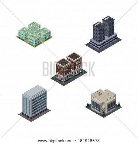 Isometric Construction Set Of Company, House, Clinic And Other Vector Objects. Also Includes Clinic, Office, Company Elements.