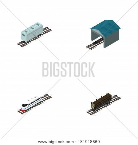Isometric Railway Set Of Railroad Carriage, Underground, Lumber Shipping And Other Vector Objects. Also Includes Underground, Train, Railway Elements.