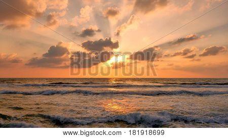 Sea View At Sunset In Tel Aviv.
