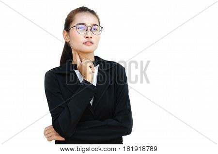 portrait of asian businesswoman isolated on white background and Bespectacled with thoughtful