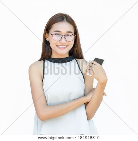 Smiling woman with beautiful isolated on white with Bespectacled and telephone