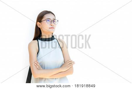 beautiful woman isolated on white with Bespectacled