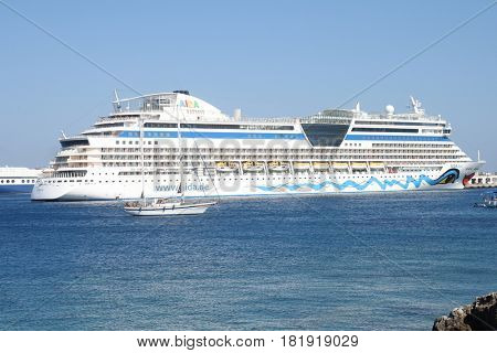 RHODES, GREECE, 7 JUNE 2012:Cruise liner AIDA DIVA in Rhodes sea port in Greece.