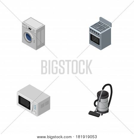 Isometric Device Set Of Laundry, Stove, Vac And Other Vector Objects. Also Includes Stove, Microwave, Vacuum Elements.