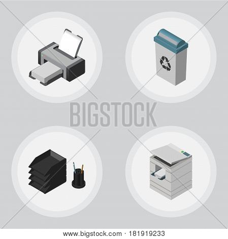 Isometric Work Set Of Scanner, Garbage Container, Desk File Rack And Other Vector Objects. Also Includes Bin, Photocopier, Printer Elements.
