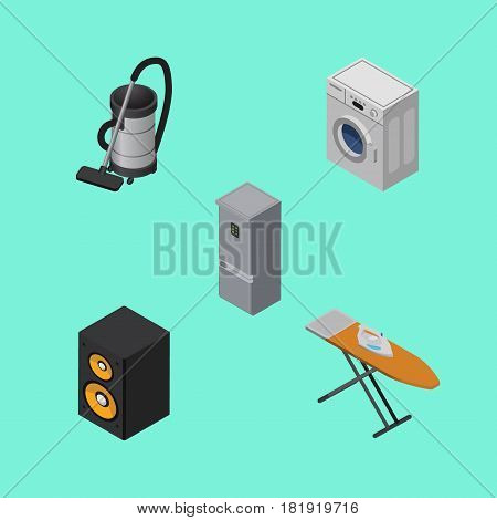 Isometric Technology Set Of Kitchen Fridge, Cloth Iron, Vac And Other Vector Objects. Also Includes Vac, Washing, Cloth Elements.