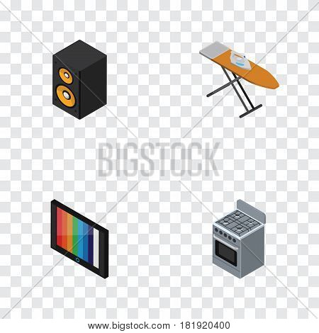 Isometric Appliance Set Of Stove, Television, Music Box And Other Vector Objects. Also Includes Kitchen, Cooker, Box Elements.