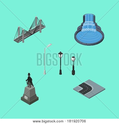 Isometric Street Set Of Garden Decor, Sculpture, Turning Road And Other Vector Objects. Also Includes Park, Fountain, Highway Elements.