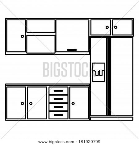 sketch silhouette kitchen interior with cabinets and fridge vector illustration