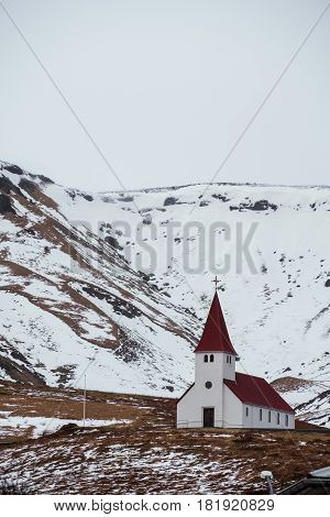 Countryside church stand alone on hills in Vik, i Myrdal Iceland