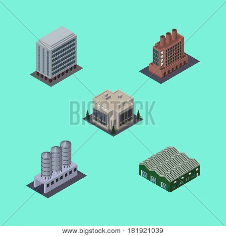 Isometric Building Set Of Water Storage, Warehouse, Office And Other Vector Objects. Also Includes Warehouse, Office, Depot Elements.