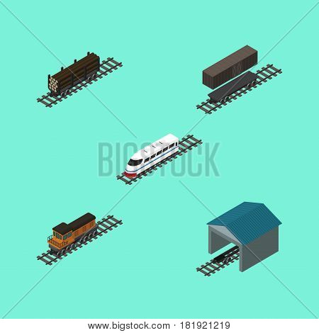 Isometric Railway Set Of Lumber Shipping, Depot, Train And Other Vector Objects. Also Includes Wood, Tank, Container Elements.
