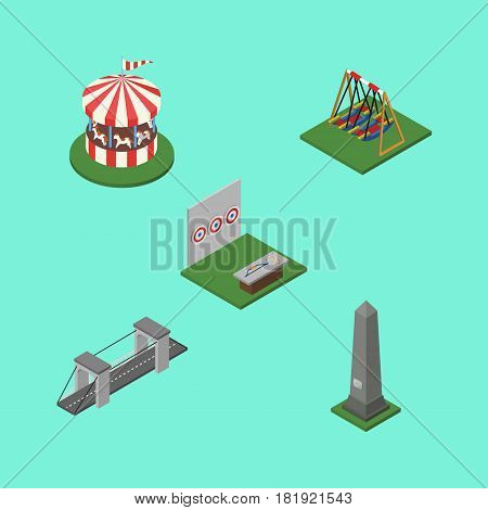 Isometric Urban Set Of Aiming Game, Seesaw, Highway And Other Vector Objects. Also Includes Aiming, Washington, Seesaw Elements.
