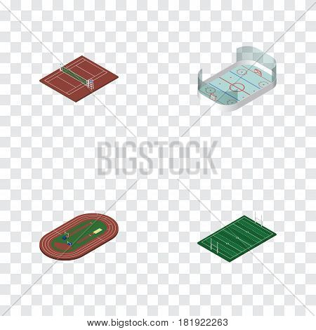 Isometric Lifestyle Set Of American Football, Run Stadium, Ice Games And Other Vector Objects. Also Includes Running, Run, Rugby Elements.
