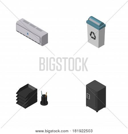 Isometric Business Set Of Wall Cooler, Garbage Container, Strongbox And Other Vector Objects. Also Includes Strongbox, Rack, Air Elements.
