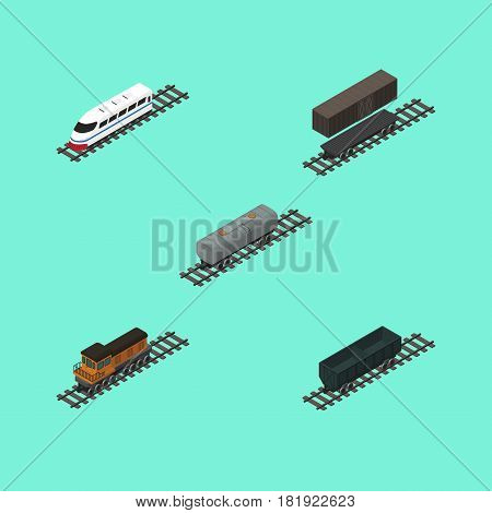Isometric Railway Set Of Delivery Tank, Oil Wagon, Underground And Other Vector Objects. Also Includes Petroleum, Coal, Speed Elements.
