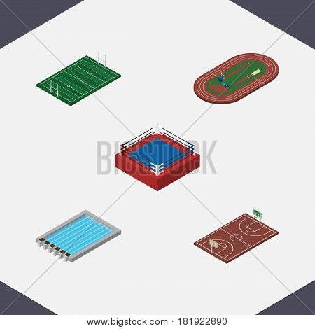 Isometric Sport Set Of Fighting, B-Ball, Run Stadium And Other Vector Objects. Also Includes Boxing, Arena, Playground Elements.