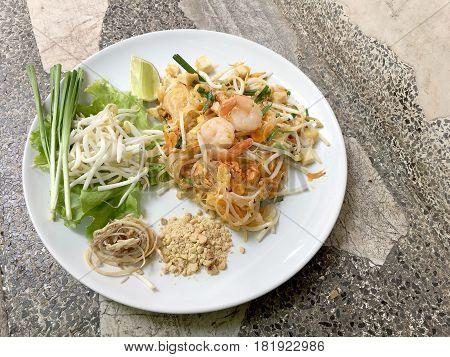 Fried Noodle Thai Style With Prawns, Stir Fry Noodles With Shrimp In Pad Thai , Thai Noodle Style, T